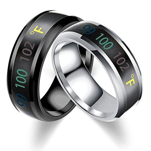 Aooaz Fahrenheit Temperature Monitor Ring for Men Women Thermometer Body Temperature Sensor Smart Rings Size 10