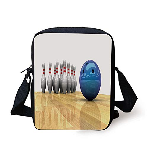 Bowling Party Decorations,Vivid Objects Ball and Pins on Parquet Floor Print Decorative,Blue Light Brown White Print Kids Crossbody Messenger Bag Purse