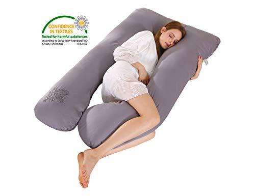 SALAD HOUSE U-förmiges Schwangerschaftskissen Seitenschläferkissen Lagerungskissen mit Abnehmbarem und Waschbarem 100% Baumwolle 320TC Stickerei Design DunkelGrau(SteepleGray)