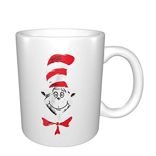Jopath Taza de porcelana con diseño de The Cat In The Hat Dr. Seuss de gran tamaño de cerámica para restaurante, café, té, zumo de cacao, blanco, talla única