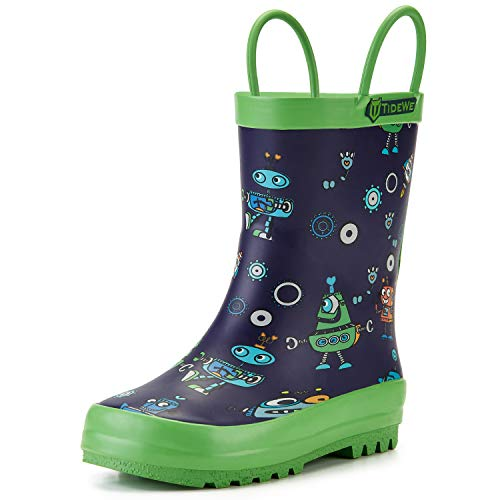 TIDEWE Rain Boots for Kids and Toddlers, Children Natural Rubber Rain Boots with Easy-On Handles, Waterproof Lightweight Kids Rain Boots in Fun Patterns for Boy and Girls (Robot Size 13)