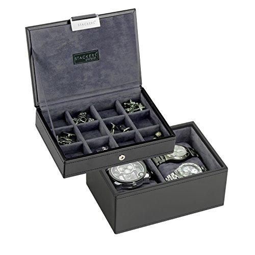 Stackers   2-teiliges Herren-Set, inkl. Schmuckkasten mit Deckel und Uhrenbox, graues Samt-Futter