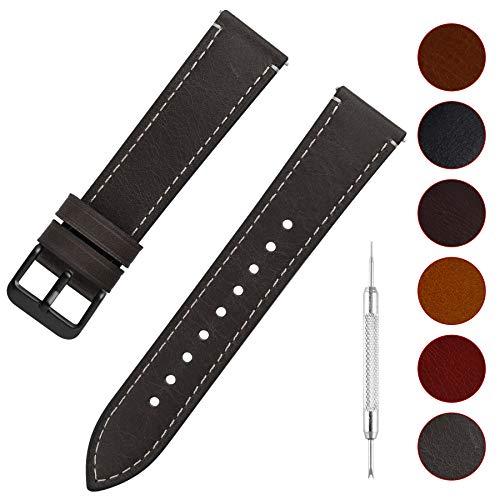 Fullmosa Uhrenarmband Leder mit Schnellverschluss, Wax Oil Serie in 24mm,Grau+Rauchgraue Schnalle