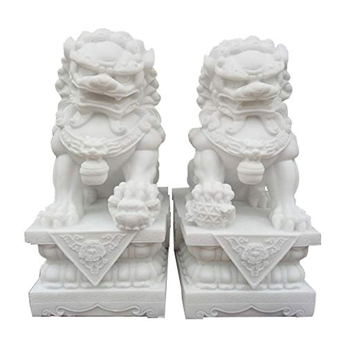 Large Beijing Lions Pair Fu Foo Dogs Statues(A...