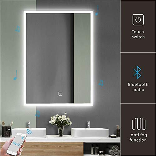 "Homecart Bathroom LED Mirror 24""X32"" Wall Mount Bluetooth Speaker Backlit Anti-Fog Function Wall Mounted w/Sensor Touch"