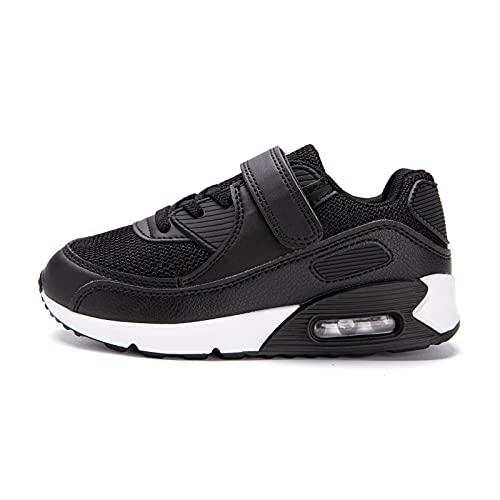Zapatillas Niño Unisex Sneakers Niña Zapatos Deporte Running CalzadoNiños Casual Transpirables Antideslizante Blanco Negro Talla 31 EU