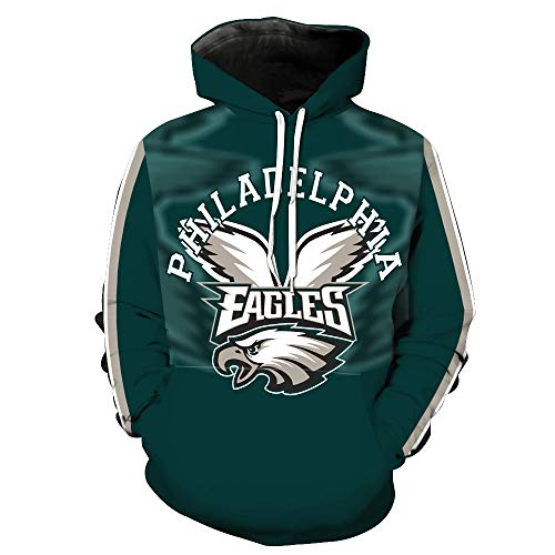 Men's Hooded Long Sleeve 3D Digital Print Philadelphia Eagles NFL Baseball Uniform Football Team Pullover Hoodies(L,Green)