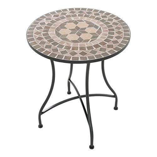 colourliving Mosaiktisch Kaffeetisch Balkontisch Gartentisch rund Metall ø 60 cm Balkon Tisch Mehrfarbig Beistelltisch Verschiedene Motive (Kreta)