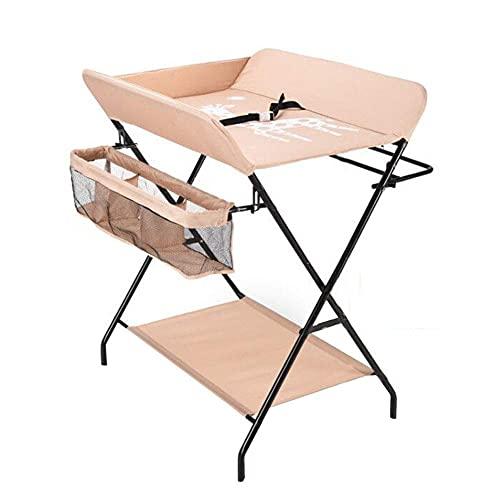 Muebles para el hogar Mesa de masaje para bebés con ruedas Mesa de ducha de bebé portátil plegable de altura ajustable Tocador con estante de almacenamiento de ropa para bebés modelos estándar gris