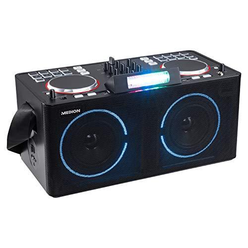 MEDION X61420 Party-Soundsystem mit DJ-Controller (Partylautsprecher, Akku, Farbige LED, 8 multifunktionelle Performance Pads pro Deck, Bluetooth, 2 x 20 W RMS)