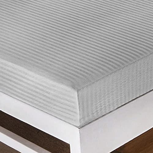 Dalina Textil Protector de Colchón para Cama de 135x190x25cm -Funda colchón de Poliéster con Cremallera y Transpirable -Gris