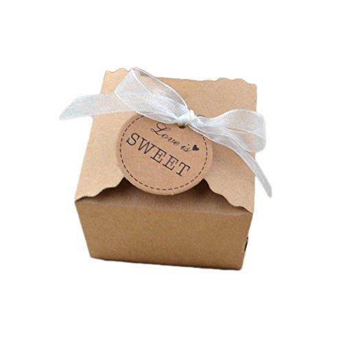 Weanty 100 Stück Süßigkeiten Geschenk Box DIY aus Kraftpapier für Bonbons Imbiss Keks Hochzeit Geburtstag Party Weihnachten 6.5 * 6.5 * 4.5cm With Ribbon
