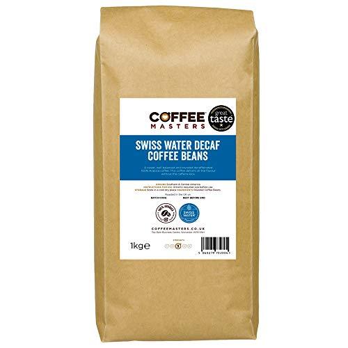 Coffee Masters Swiss Water Decaf Coffee Beans 1kg - 100% Arabica Naturally Decaffeinated Coffee Beans - Great Taste Award Winner 2019