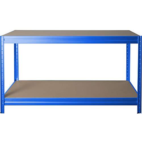 Höhenverstellbare Werkbank | HxBxT 870 x 1600 x 600 mm | Tiefe 60 cm | Traglast 600 kg | Werktisch Arbeitstisch Steckmontage Stahltisch | Blau