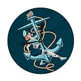 FETEAM Reloj de Pared Redondo Decorativo Moderno Pin Up Sailor Girl con Ancla de Barco con Pilas...