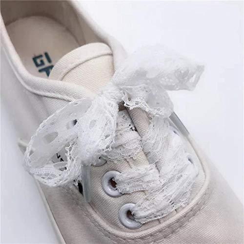 Huien 1 paar veterschoenen voor dames, casual schoenen, mode lint schoenveter outdoor sneakers zwarte veters, wit, 120cm