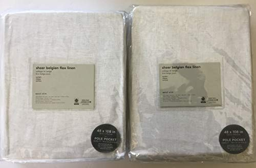 """West Elm Sheer Belgian Flax Linen ~Pole Top Curtain~Set of Two Panels~ 50"""" x 108""""~White~"""