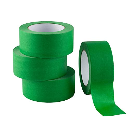 LICHAMP 4 Pack Green Painters Tape 2 inch Wide, Medium Adhesive Green Masking Tape Bulk Multi Pack, 2 inch x 55 Yards x 4 Rolls (220 Total Yards)