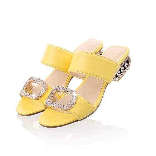 TIFIY Pantolette Damen,Sommer Mode Zehentrenner Freizeit Wasser Kristall Fisch Mund Offene Sandalen Hausschuhe Schuhe Espadrilles (Gelb,EU 42)