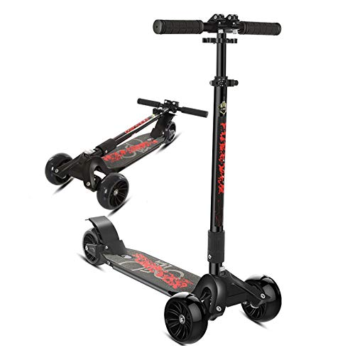 HYE-SPORT Scooter de Ruedas Grandes Cruiser, Micro Scooter Plegable de 3 Ruedas para niños y Adolescentes, de 8 años en adelante, Carga máxima: 100 kg / 200 LB