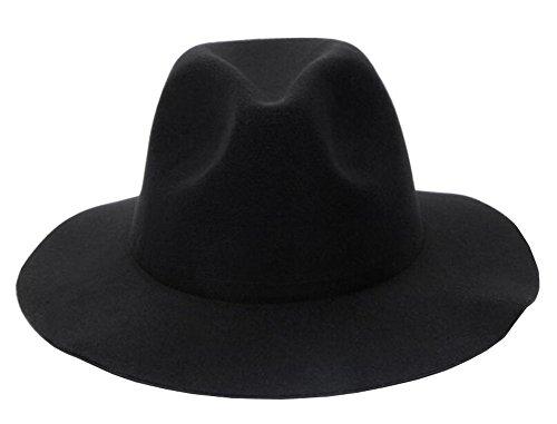 Black Temptation Stylish Fedora Hut Wide Brim Hat - Schwarz