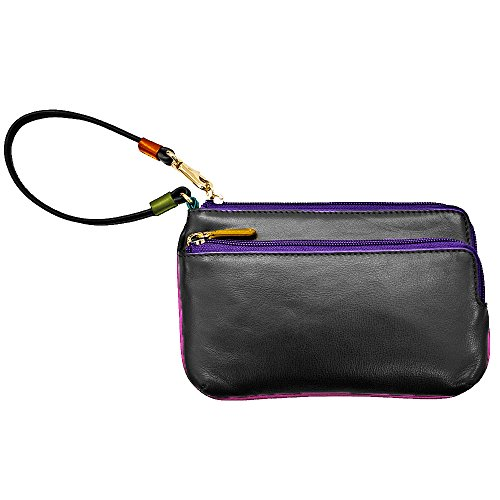 ILI LEATHER 2 POCKET RFID WRISTLET WALLET WITH CARD SLOTS (black brights)