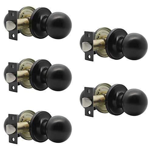 Paquete de 5 pomos redondos para puerta de pasillo, armario, función de paso para pasillo, armario, puerta interior, acabado negro, sin llave (sin bloqueo)