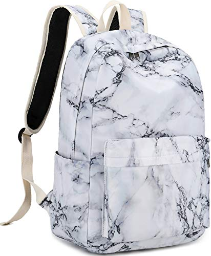 School Backpack for Teen Girls Lightweight College Canvas School Laptop Backpack with USB Charging Port (Marble)