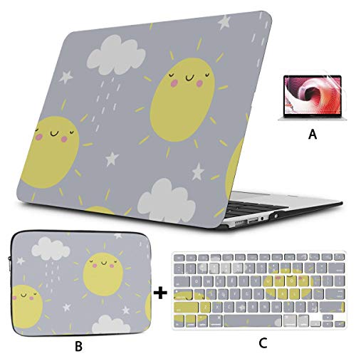 Macbook Computer Case Childlike Fun Cartoon Cute Sun Macbook Air Protective Case Hard Shell Mac Air 11'/13' Pro 13'/15'/16' With Notebook Sleeve Bag For Macbook 2008-2020 Version