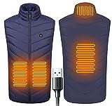 BOTOWI Chaleco calefactable Hombre con 4 Zonas de calefacción, Chaleco de Caza batería USB, Chaleco de Invierno para Mujer, Hombre, Chaqueta calefactada sin Mangas para Senderismo, Pesca,Azul,4XL