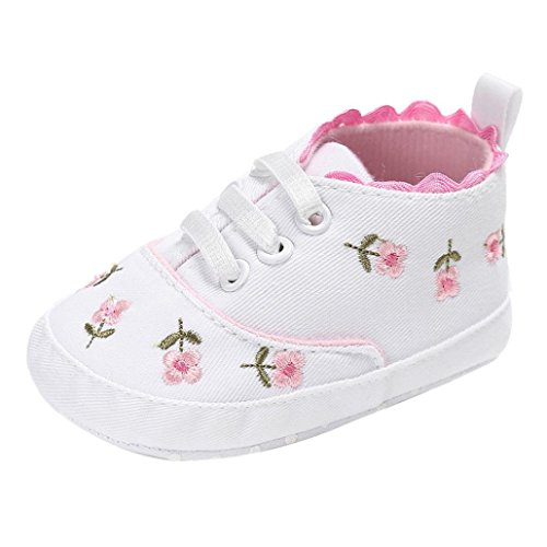 Voberry Baby Girls Soft Sole Floral Canvas Sneakers Shoes (6~12 Month, White)