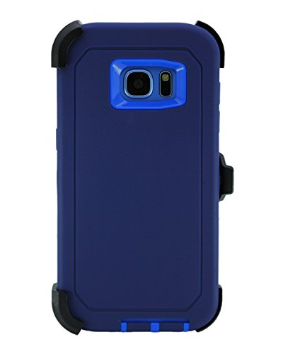 """WallSkiN Turtle Series Belt Clip Cases for Galaxy S7 Edge (5.5""""), 3-Layer Full Body Life-Time Protective Cover & Holster & Kickstand & Shock, Drop, Dust Proof - Navy Blue/Blue"""