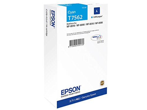 Epson original – Epson WorkForce Pro WF-8590 TC (T7562/C 13 T 756240) – Cartuccia di inchiostro Cyan – 1.500 pagine – 14 ml