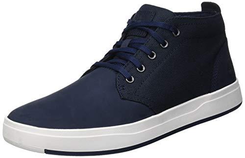 Timberland Mens Davis Square Mixed-Media Chukka Navy Nubuck Sneaker - 10