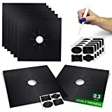 Stove Burner Covers Reusable Protectors - 8 Pack Double Thickness 0.3mm Non-Stick Gas Range Protectors Liners Cuttable Heat-Resistant - Easy to Clean - bonus 20x pcs Black Pre-Cuted Sticky Jars Labels