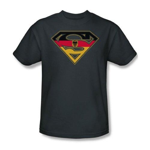 Superman - - Bouclier allemand - Adulte charbon T-shirt à manches courtes pour les hommes, Small, Charcoal