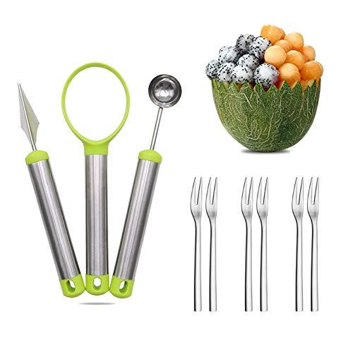 Juego de cucharas de melón, juego de cucharas de frutas de acero inoxidable 4 en 1, cuchara de frutas, eliminación de semillas para cortador de frutas y pulpa de frutas