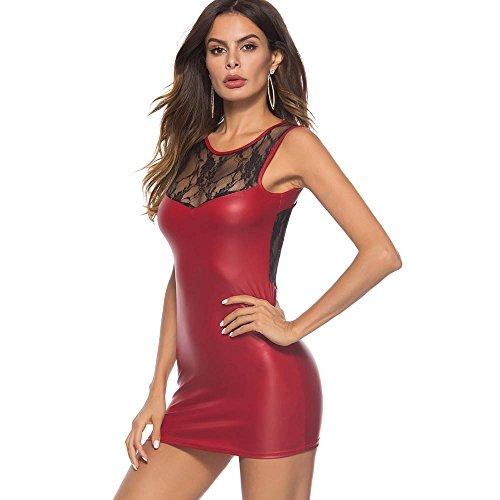 Kanpola Robe De Soirée Femme Sexy Artificiel Cuir sous Vêtements Le Maillot De Corps Mini Robe Dentelle Lingerie