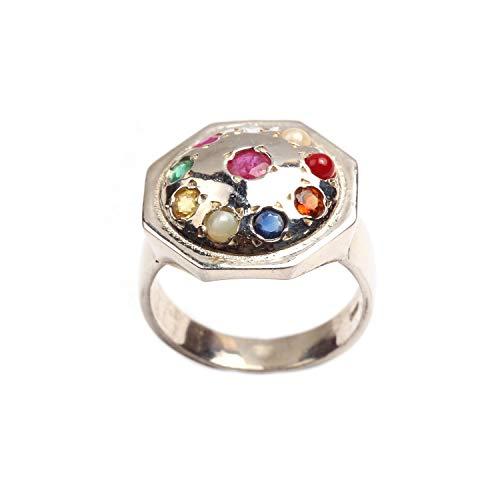 Anillo de meditación de diez piedras preciosas naturales de plata de ley 925 tamaño 8.25 para hombres y mujeres |Anillo de plata |Anillo de piedras preciosas