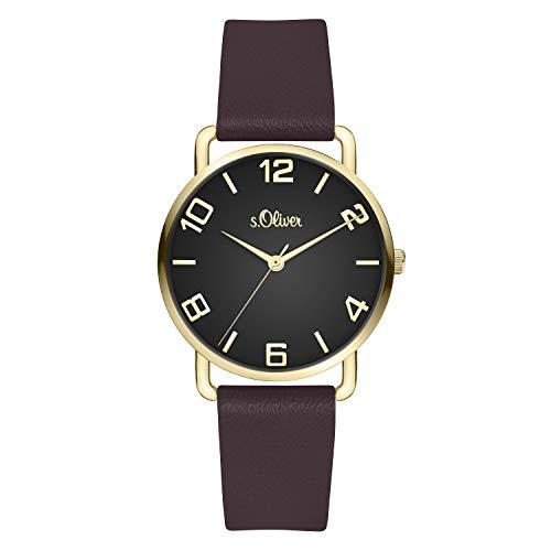 s.Oliver Damen Analog quarz Armbanduhr mit Kunstleder SO-4146-LQ