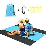 Gonex Alfombras Playa Manta Picnic Suelo Camping Esterilla Anti Arena Lona Impermeable Exterior Colchón Cubierta para Jardín Parque Piscina Acampada Viaje al Aire Libre (Azul: 305 x 275 CM)