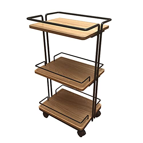 GAXQFEI Industrial Style Sofa Tables,Farmhouse Living Room Shelf 3 Tier Flower Stand Display Side Table Bedroom Storage Shelf Bathroom Trolley Removable Storage Trolley,Wood Colour,45.5*39.5*79.5Cm