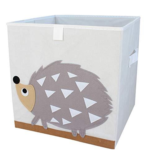 miRio • Aufbewahrungsbox Kinder für Spielzeug mit Tiermotiv | Spielzeugkiste Kinderzimmer | Tier Storage/Würfel/Ordnungsbox für Kallax Regal | stabil, faltbar & sehr geruchsarm | 33x33x33cm (Igel)