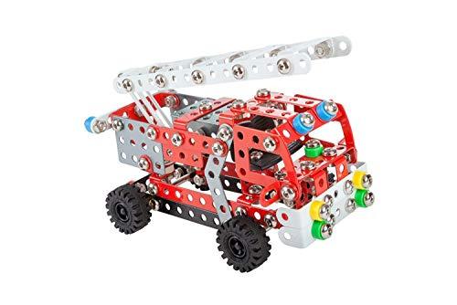 Alexander 1656 Constructor Feuerwehr Metall Bausatz, 314 Teile Metallbaukasten, Metallbausatz mit Feuerwehrauto, Feherwehr Leiterwagen mit Werkzeug, Konstruktionsspielzeug für Kinder ab 8 Jahren
