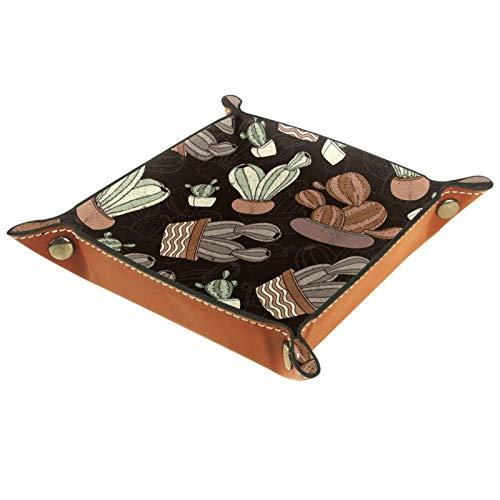 KAMEARI Bandeja de piel con diseño de cactus vintage, para monedas, de piel de vacuno, práctica caja de almacenamiento para carteras, relojes, llaves, monedas