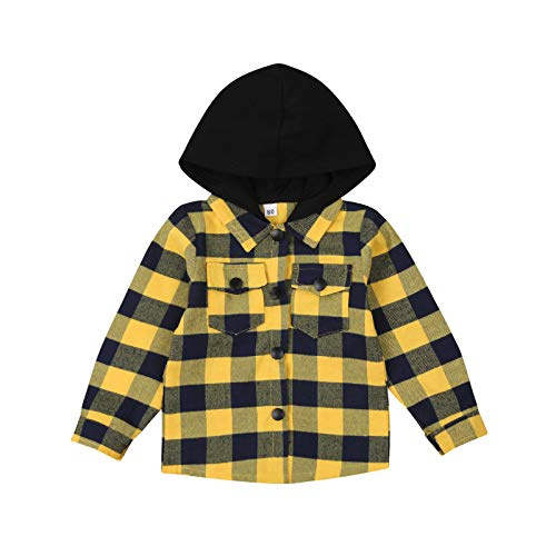 Toddler Long Sleeve Plaid Jacket Baby Boy Hoodie Plaid Shirt Infant Casual Coat for Fall Little Boy's Outfit (Yellow, 3-4 Years)