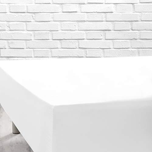 TOLRA Sabana Bajera Ajustable al colchón, en Tejido Algodón Poliester de 180hilos x 10cm2 de facil Lavado - Cama de 160, Blanco