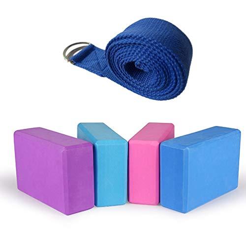 BESPORTBLE Ladrillos y Correa de Yoga eva foma Accesorios de Yoga firmes livianos Instrumentos Deportivos Esenciales de Yoga para entusiastas del Pilates Yoga (Azul Oscuro)