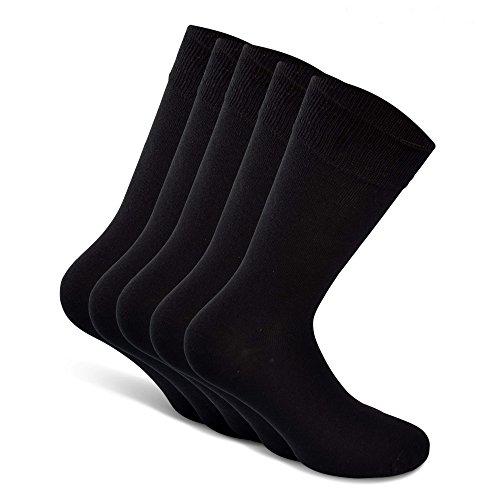 Snocks ® Herren Business Socken Lange Haltbarkeit Dank Bester Qualität (Ohne Fusseln), 01 Schwarz (5x Paar), 43 - 46