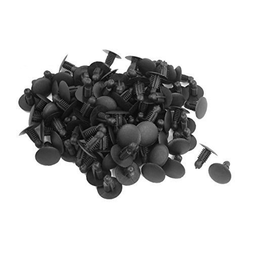 Kaxofang 100pzs Clips Remache Sujetador empujado de plastico de Coche Negro para 9mmx7.3mm Agujero